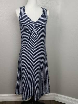 Royal Robbins Womens A Line Dress Blue Stripe Stretch Midi V Neck Sleeveless S