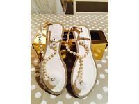 Pearl and diamanté sandals