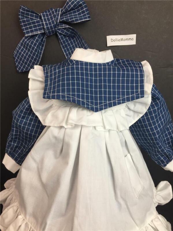 American Girl Samantha Play Outfit~Dress~Pinafore~Hair Ribbon~Pleasant Company