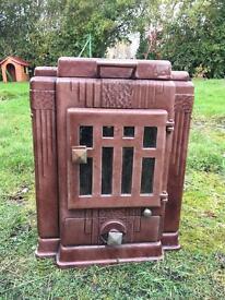 NEW PICS Vintage brown Enamel antique French multi fuel stove / woodburner