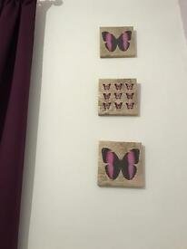 Set of 3 lovely canvases with butterflies