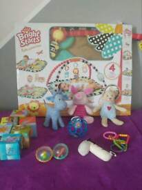 Bright Starts Play Mat Activity Gym & Bundle toys - cube rings rattle ball plush