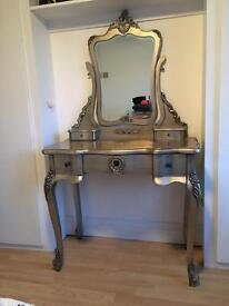 Silver/Metal look wooden dressing table and mirror