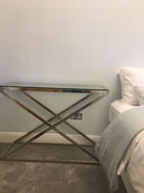 Glass and metel cross frame console tables