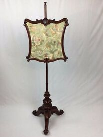 Antique Victorian Mahogany Fire Screen Pole Screen - See Delivery