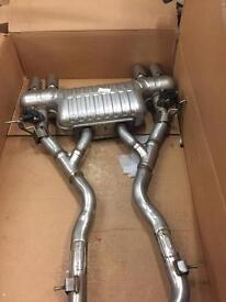 Genuine BMW rear exhaust silencer with centre box and complete control units