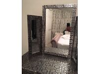 Blackened Silver Embossed Dressing Table - French Vintage Chic, Triple Dressing Mirror & Side Table