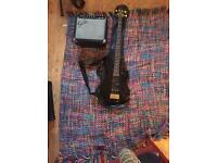 Stagg bass guitar with fender amp