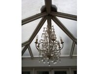 Unusual Ceiling Light with 6 Candle Lights and Hanging Clear Beads