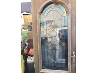 Stained glass solid wood door