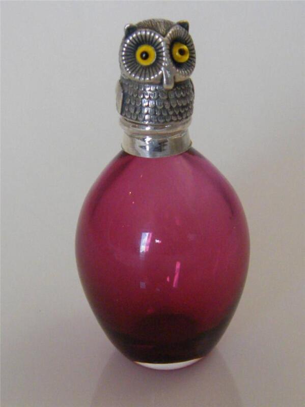 SILVER & CRANBERRY GLASS OWL BULBOUS SCENT BOTTLE