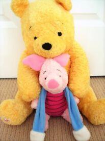 Large Winnie The Pooh nightdress pj case(soft cushion insert) & detachable Piglet - Mint