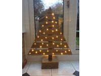 Rustic Christmas decoration with lights