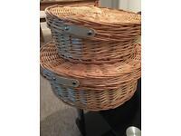 1 laundry hamper + 3 rattan baskets
