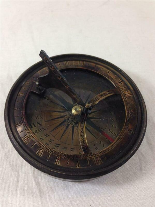 Compass and Sundial Bronze Nautical Reproduction Home Decor