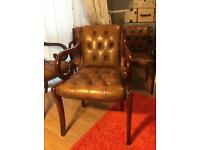 Chesterfield Chairs x4 - antique solid leather