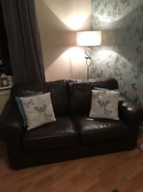2&2 seater brown leather sofa