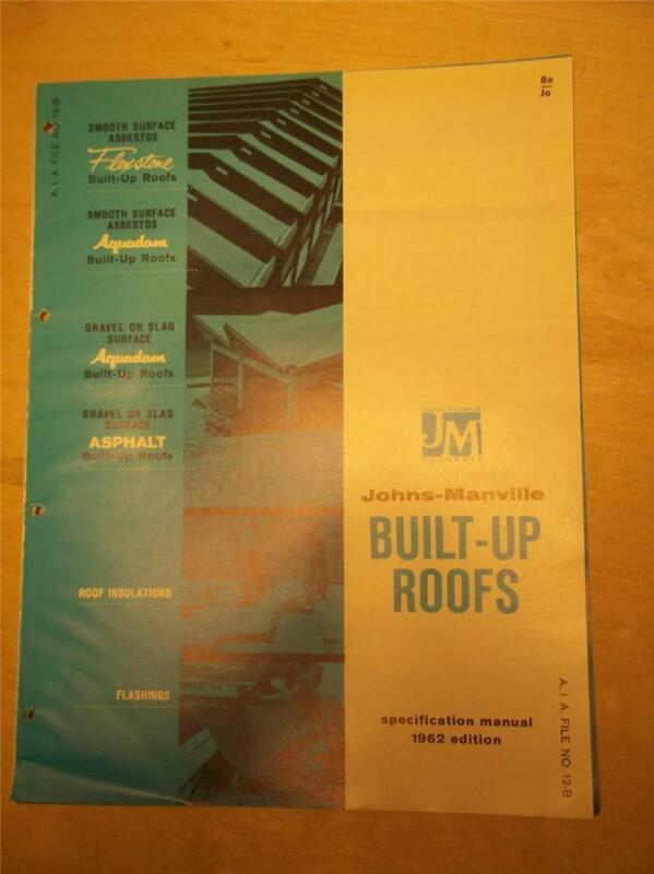 Johns-Manville Catalog~Built-Up Roofs~Asbestos~Flexstone/Aquadam~1961