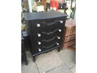 Black Shabby Chic Chest Of Drawers With Crystal Handles