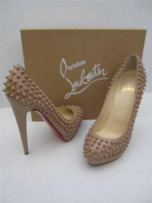 CHRISTIAN LOUBOUTIN ALTI SPIKES PATENT LEATHER NUDE 160 PUMP HEELS 40/9 $1495