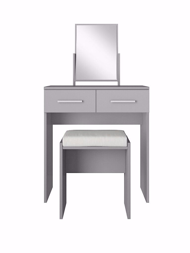 Prague High Gloss Dressing Table Stool And Mirror Set Grey