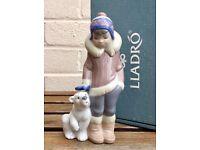 LLADRO -ESKIMO BOY WITH PET- FIGURE MODEL 5238 CHILD POLAR BEAR not GIRL GRIZZLY PANDA -BOXED-