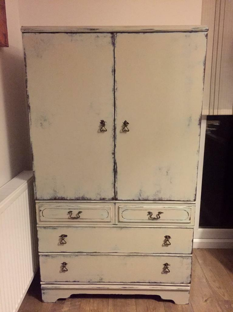 Solid refurbished bedroom tallboy cabinet, chest of drawers, slightly distressed finish