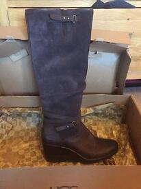 Genuine UGG Australia brown suede wedge boots