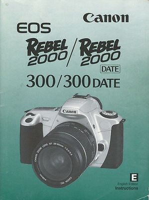 CANON EOS REBEL 2000 SLR 35mm CAMERA OWNERS INSTRUCTION MANUAL -CANON-from 1990s