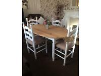 Shabby chic dining table and 4 dining chairs