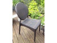 4 Garden Dining chairs Grey/Brown Flat PE Resin weave Outdoor or Indoor
