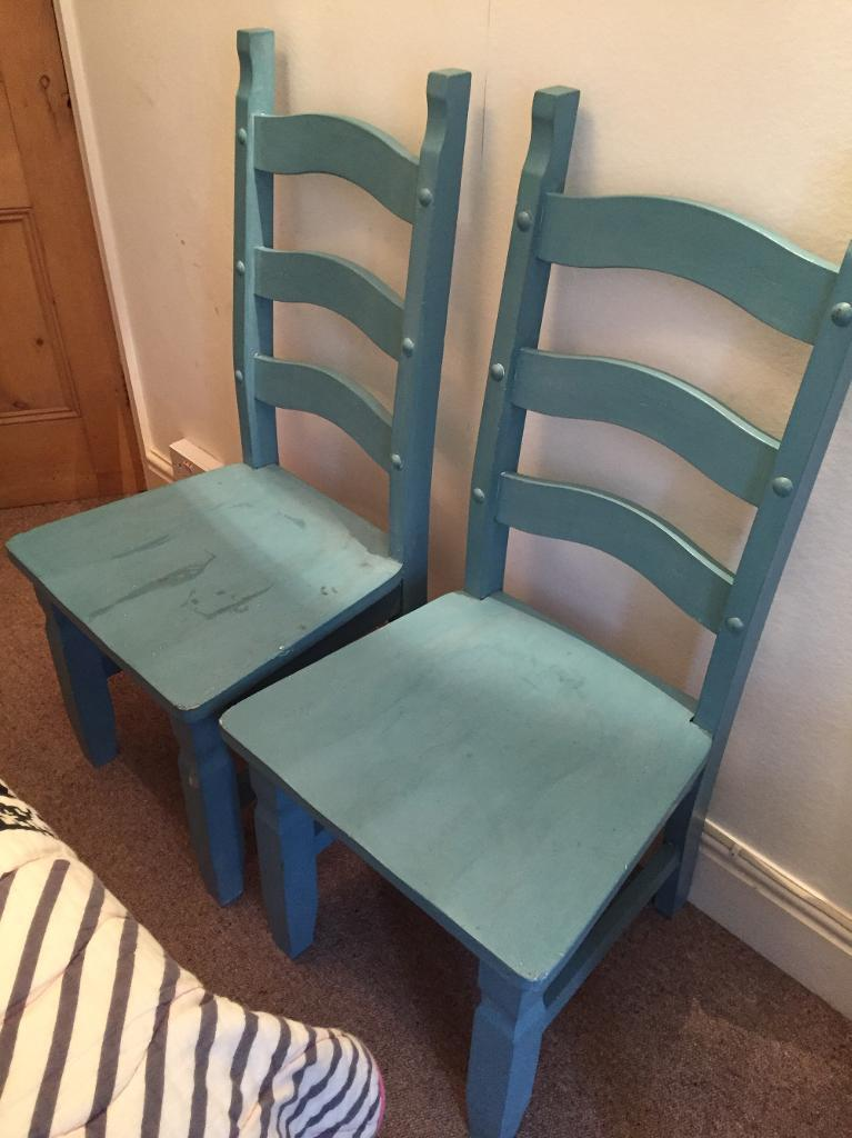 2 X painted pine chairs