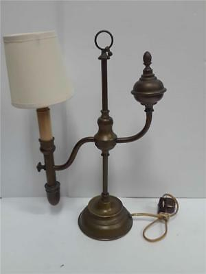 Antique Brass Candlestick Desk Table Lamp Light Made in -