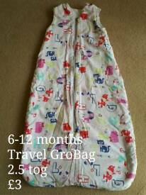 Travel GroBag 6-12 months 2.5 tog