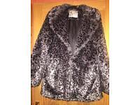 New look leopard animal print faux fur coat jacket size 18