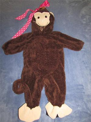 Girls Halloween Monkey Chimp Zip With Pink Polka Dot Bow Costume 6/9 Months