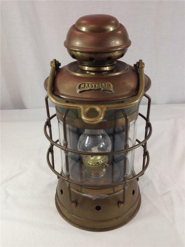 Antique Masthead Brass Copper Oil Kerosene Lamp Lantern Ship Nautical