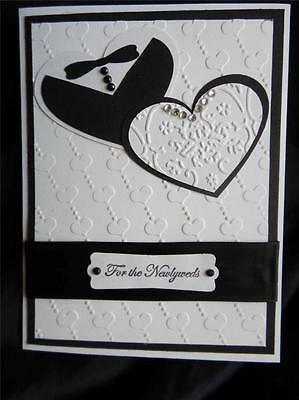 Halloween Wedding Card (Handmade Wedding Card Black & White Tuxedo Rhinestones Hearts Using Stampin)