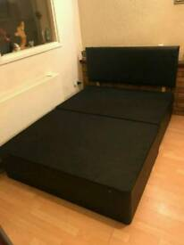 Black leather bed frame for sale