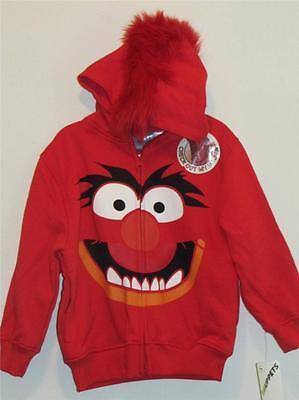 Muppets Animal Hoodie (New Boy's Disney Muppets Red ANIMAL Full-Zip Mohawk Hoodie Jacket,  Sz)