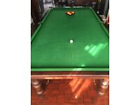 10ft. X 5ft maghony snooker table with cues, balls etc