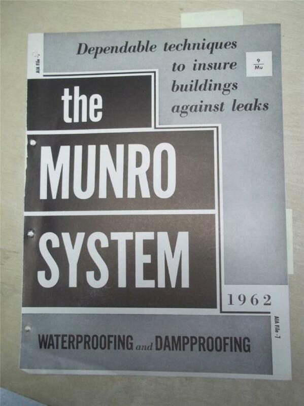 Munro Waterproofings Catalog~Asbestos Flashing Mastics/Pre-Formed Units~1962