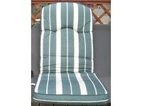 SET OF 6 MATCHING GARDEN DINING CHAIR CUSHIONS IN GREEN & CREAM STRIPED FABRIC