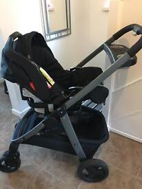 Graco sky travel system black night great condition pushchair car seat