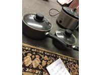 2 x saucepans boiling pots cooking pans