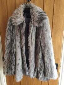 Grey faux fur coat 12