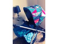 Sola pram with limited edition fabrics no rain cover bit of leather of bumper bar