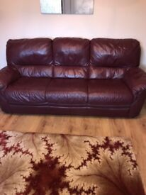 Red 3 seater Sofa and recliner