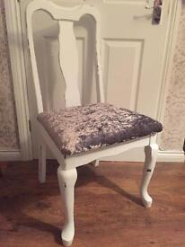 Queen Anne leg silver crushed velvet white painted shabby chic chair