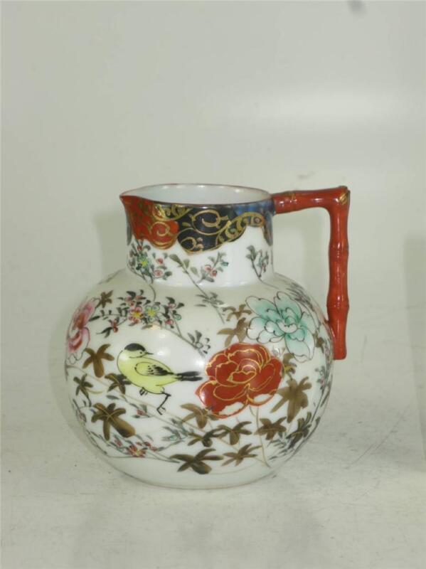 Antique Japanese Signed Satsuma Bird Floral Pitcher Ewer 1800